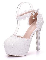 Femme Chaussures Polyuréthane Printemps Automne Confort Nouveauté Chaussures de mariage Talon Aiguille Bout rond Applique Perle Creuse
