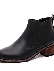 baratos -Mulheres Sapatos Couro Ecológico Outono Coturnos Botas Salto Robusto Ponta Redonda Elástico para Social Preto Cinzento