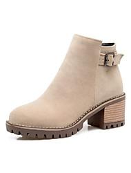 Для женщин Обувь Нубук Осень Зима Удобная обувь Оригинальная обувь Ботильоны Ботинки На толстом каблуке Заостренный носок Молнии
