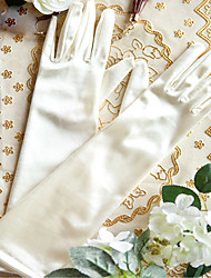 Ellenbogen Länge Fingerspitzen Handschuh Taft Brauthandschuhe Herbst Frühling Gefaltet