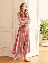 levne -Dámské A Line Swing Šaty - Jednobarevné Maxi