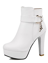 cheap -Women's Shoes Leatherette Winter Fashion Boots Bootie Boots Chunky Heel Round Toe Booties/Ankle Boots Zipper for Casual Dress White Black