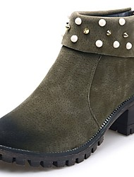 cheap -Women's Shoes Suede Fall Combat Boots Boots Flat Heel Round Toe Pearl for Dress Black Green Khaki