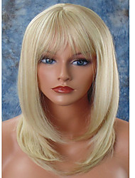 cheap -Women Synthetic Wig Capless Medium Straight Blonde Natural Hairline Layered Haircut With Bangs Celebrity Wig Halloween Wig Natural Wigs