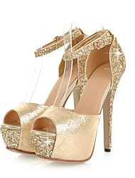 cheap -Women's Shoes Sparkling Glitter PU Summer Fall Comfort Novelty Sandals Stiletto Heel Peep Toe Buckle for Wedding Party & Evening Gold