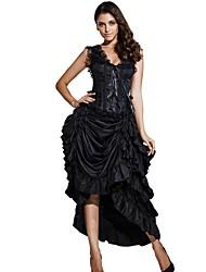 Damen Korsett-Kleider Nachtwäsche,Sexy Retro Solide-Baumwolle