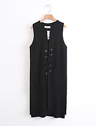Women's Going out Casual/Daily Simple Cute Long Vest,Solid Round Neck Sleeveless Cotton Others Spring Fall Thin Medium Micro-elastic