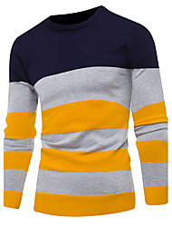 cheap -Men's Basic Long Sleeves Pullover - Striped Round Neck