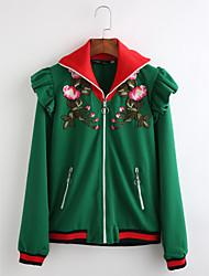 Damen Druck Chinoiserie Lässig/Alltäglich Mantel,Hemdkragen Herbst Lange Ärmel Standard Baumwolle Stickerei