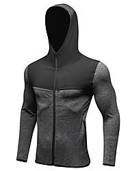 Men's Running Jacket Long Sleeves Quick Dry Windproof Hoodie Top for Running/Jogging Exercise & Fitness Bike/Cycling Polyester Tight