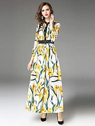 Maxlindy Women's Party Going out Casual/Daily Sexy Vintage Sophisticated A Line Dress,Floral Jacquard Stand Maxi Long Sleeves Polyester Fall Winter