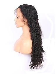Ženy Paruky z přírodních vlasů Brazilské Přírodní vlasy Celokrajkové 150% Hustota Dětské vlasy Přírodní vlny Paruka Černá Dlouhý Přírodní