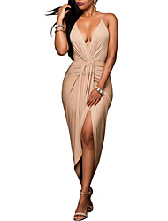 cheap -Women's Party Club Sexy Street chic Sheath Dress,Solid Strap Asymmetrical Sleeveless Polyester Summer Fall High Rise Micro-elastic Medium