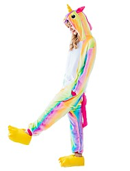 cheap -Kigurumi Pajamas Flying Horse Unicorn Onesie Pajamas Costume Flannel Fabric Rainbow Cosplay For Adults' Animal Sleepwear Cartoon Halloween