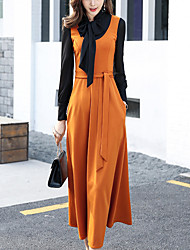 Women's Party Work Simple A Line DressPatchwork Round Neck Maxi Long Sleeves Cotton Polyester Fall Winter High Rise Micro-elastic Medium