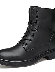 cheap -Men's Shoes Real Leather Fall Winter Bootie Combat Boots Boots Booties/Ankle Boots Lace-up For Casual Party & Evening Black