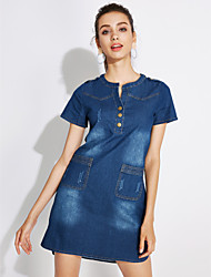 cheap -Women's Daily Plus Size Street chic Shift Denim Dress,Solid Round Neck Short Sleeves Summer Mid Rise