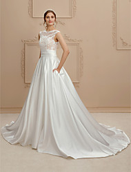 A-Line Jewel Neck Court Train Lace Satin Wedding Dress with Pockets Sashes/ Ribbons by LAN TING BRIDE®