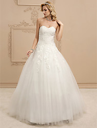 cheap -Ball Gown Sweetheart Floor Length Tulle Custom Wedding Dresses with Beading Appliques Ruched by LAN TING BRIDE®