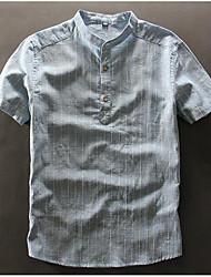 cheap -Men's Daily Casual Summer Shirt,Solid Striped Shirt Collar Short Sleeves Linen