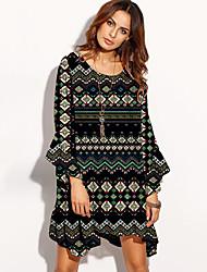 cheap -Women's Daily Beach Boho Loose Dress,Print Round Neck Asymmetrical Long Sleeves Polyester Spring Summer Mid Rise Micro-elastic Thin