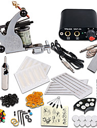 cheap -Tattoo Machine Starter Kit 1 steel machine liner & shader Mini power supply 1 x aluminum grip 10pcs pcs Tattoo Needles