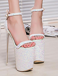 Women's Shoes PU Summer Comfort Sandals Stiletto Heel Peep Toe For Casual White Blushing Pink