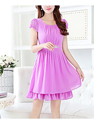 Women's Going out Casual/Daily Simple Cute A Line Dress,Solid Round Neck Above Knee Short Sleeves Polyester Spandex Summer High Rise