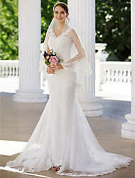cheap -Mermaid / Trumpet V Neck Court Train Lace Tulle Custom Wedding Dresses with Appliques by LAN TING BRIDE®