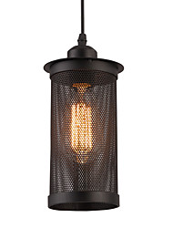 1 Head Vintage Black Metal Mesh Pendant Lights Country Style Mini Chandelier for Bars Kitchen Dining Room Light Fixture