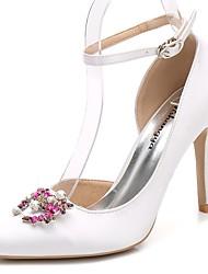 preiswerte -Damen Schuhe Seide Frühling Herbst Pumps Knöchelriemen Hochzeit Schuhe Stöckelabsatz Spitze Zehe Strass Kristall Glitter Für Hochzeit