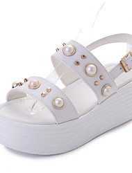 cheap -Women's Shoes PU Summer Slingback Sandals Low Heel Round Toe Beading For Casual Black White