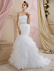 cheap -Mermaid / Trumpet Sweetheart Sweep / Brush Train Organza Custom Wedding Dresses with Sashes / Ribbons Cascading Ruffles by LAN TING BRIDE®