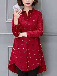 Women's Sports Casual/Daily Simple Spring Fall Shirt,Print Shirt Collar Long Sleeves Cotton Medium
