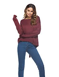Недорогие -Для женщин На каждый день Обычный Пуловер Однотонный,Круглый вырез Длинный рукав Хлопок Осень Средняя Эластичная