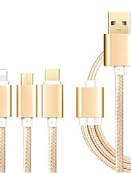 USB 2.0 Connect Cable, USB 2.0 to USB 2.0 Type C Micro USB 2.0 Lightning Connect Cable Male - Male 1.2m(4Ft)