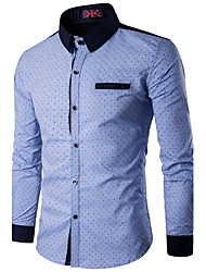 cheap -Men's Active Shirt - Polka Dot Standing Collar