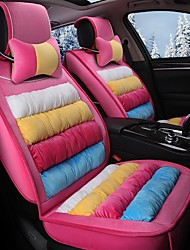cheap -Rainbow Striped Plush Car Seat Cushion Material Winter Seat Cover Surrounded By AFive Seat-Pink