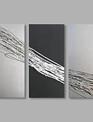 abordables -Pintada a mano Abstracto Horizontal,Artístico Tres Paneles Lienzos Pintura al óleo pintada a colgar For Decoración hogareña