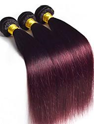 Virgem Cabelo Brasileiro Âmbar Liso Extensões de cabelo 3 Peças Preto Vinho / Dark