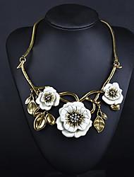 Mulheres Colares Declaração Imitação de Diamante Formato de Flor Liga Elegant Floral Moda Estilo Boêmio Ajustável Adorável Personalizado