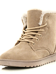 Women's Shoes Flocking Fall Winter Fluff Lining Boots Flat Heel Round Toe Booties/Ankle Boots Split Joint For Casual Outdoor Blushing