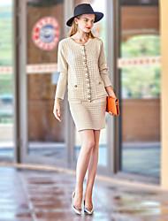 Dámské Jednobarevné Jdeme ven Práce Jednoduchý Kapuce Sukně Obleky-Podzim Zima Kulatý Dlouhý rukáv Mikro elastické