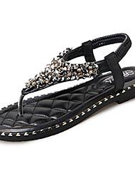 cheap -Women's Sandals Comfort Light Soles Spring Summer PU Casual Dress Rhinestone Imitation Pearl Flat Heel Black White Under 1in