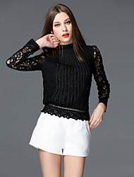 T-shirt Da donna Per uscire Casual Semplice Autunno,Tinta unita Colletto alla coreana Altro Manica lunga Medio spessore