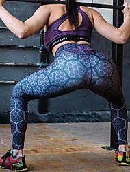 billige Bukser og skjørt til damer-Dame Sporty Tights - Trykt mønster, Fargeblokk Høy Midje