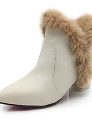 Women's Shoes Feather/ Fur Leatherette Fall Winter Fluff Lining Fashion Boots Bootie Boots Block Heel Pointed Toe Booties/Ankle Boots
