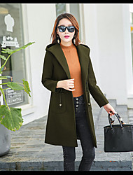 Women's Going out Casual/Daily Simple Street chic Winter Coat,Solid Hooded Long Sleeve Long Wool