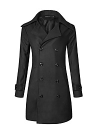 Men's Daily Plus Size Vintage Street chic Winter Fall Trench Coat,Solid Notch Lapel Long Sleeve Regular Polyester