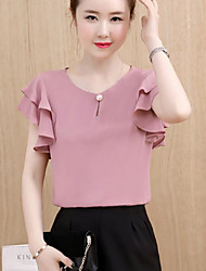 Women's Going out Simple Blouse,Solid Round Neck Short Sleeves Cotton Acrylic